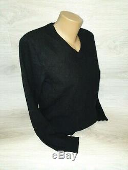 100% Auth Moncler Maglione Tricot Black Sweater Wool Top Long Sleeve Sz XL Women