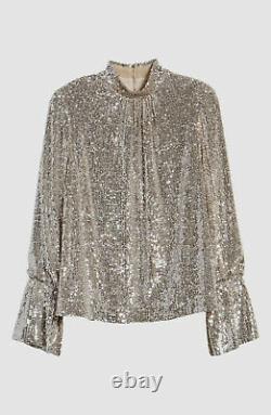 $1090 Zadig & Voltaire Women Beige Sequin Metallic Long-Sleeve Blouse Top Size M