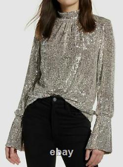 $1095 Zadig & Voltaire Women Beige Sequin Metallic Long-Sleeve Blouse Top Size M