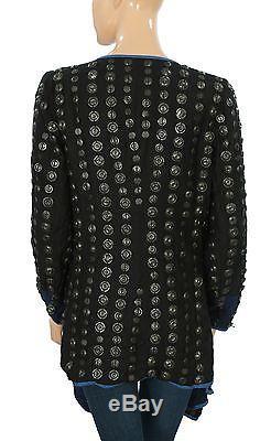 141404 NWD Free People Black Crossed Coin Embellished Long Sleeve Jacket Top XS