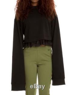 $150 Fenty x PUMA Rihanna Black Cropped Long Sleeve Lace Trim Top Sweatshirt M