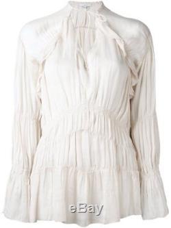 165978 New IRO Iryna Ruffled Voile Cream Long Sleeve Smocked Blouse Top Small S