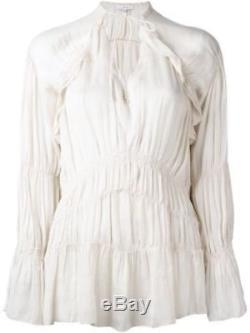 172310 New IRO Iryna Ruffled Voile Ivory Smocked Long Sleeve Blouse Top Small S