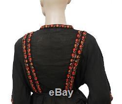 173183 New Doen Graceland Buttondown Long Sleeve Cotton Black Blouse Top XS US