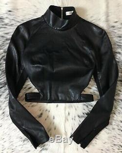 $1800 Mugler Longsleeve Open-back Stretch Nappa Learher Crop Top, Sz It/36 Us/4