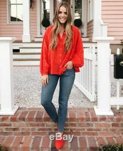 191043 New Doen The Jane Buttondown Long Sleeve Orange Blouse Shirt Top XS