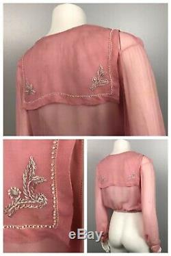 1920s Blouse Top / Pink Silk Beaded Sheer Embroidery Crop Top Long Sleeve / XS
