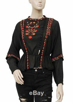 192855 New Doen Graceland Buttondown Tie Knot Long Sleeve Black Blouse Top S