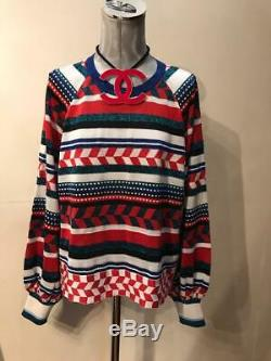 2016 AUTH CHANEL Long sleeve Multicolor Sweater Top knitted 46 EU Rare
