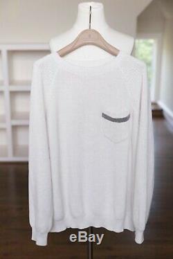 2018 Brunello Cucinelli Sweater oatmeal top long sleeve monili trim size L