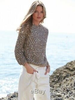 2018 Brunello Cucinelli sweater long sleeve open wave Sequin Top size S