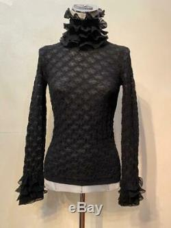 2019 AUTH CHANEL Long sleeve Black Sweater Top knitted 34-36-38 EU Rare