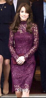 $2,862 DOLCE & GABBANA Purple Kate 40 42 44 4 6 8 S M L D Lace Midi Dress Top G