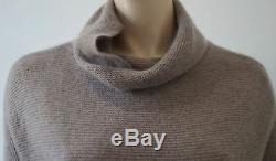 360 CASHMERE Beige Cashmere Polo Neck Long Sleeve Rib KnitJumper Sweater Top M