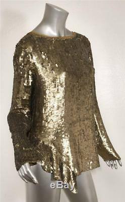 3.1 PHILLIP LIM Womens Bronze Gold Sequin Asymmetric Long Sleeve Top Blouse 6