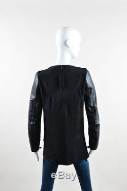3.1 Phillip Lim Black Silk Leather Long Sleeve Top SZ 4