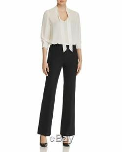 $490 Rebecca Taylor Women's White Long Sleeve Stand Collar Neck Tie Top Size S