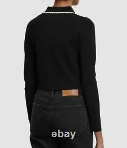 $659 Sandro Women's Black Long-Sleeve Cardigan Slim Trim Crop Top Sweater Size S