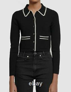 $659 Sandro Womens Black Long-Sleeve Cardigan Slim Trim Crop Top Sweater Size M
