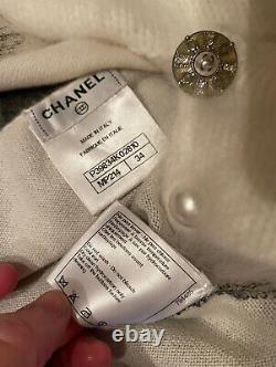 $6,850 CHANEL 2014 Rabbit Fur Graffiti White Dress Top Cape Jacket 34 36 2 4 6 S