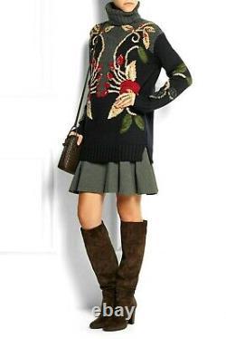 $700 Tory Burch Rianna Intarsia Turtleneck Runway Dress Sweater Top 6 8 MEDIUM