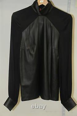 $795 NEW Tamara Mellon Paneled LEATHER & SILK Blouse Top Blouse Black 6