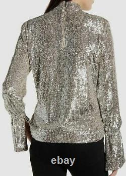 $798 Zadig & Voltaire Womens Beige Long Bell-Sleeve Sequin Metallic Blouse Top L