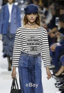 $ 890 Christian Dior Black Striped Women Artists Feminist Long Sleeve Top XS