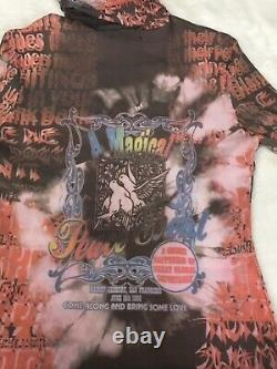 90s Y2K Vintage Greatful Dead Peace Event Doves Long Sleeve Turtleneck Mesh Top