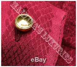 $995 Gucci Top Burgundy Long Sleeve Silk Blouse Snake Print 42 /us 6