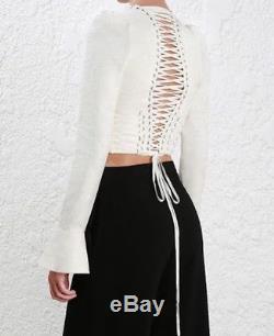 $995 New Zimmermann Cavalier Tie Up Bodice 0 Blouse Long Sleeve Crop Top