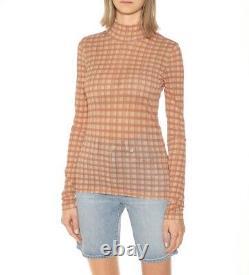 ACNE STUDIOS Orange Check Long Sleeve Turtleneck Size XXS