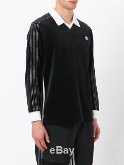 ADIDAS X ALEXANDER WANG. Black Long Sleeve Velour Logo Polo Top. Size Large