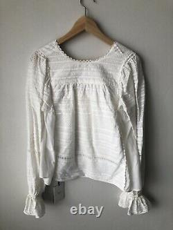 AJE Irina White Broderie Anglaise Cotton Blouse Blouse Top RRP $295 Size 6 AU
