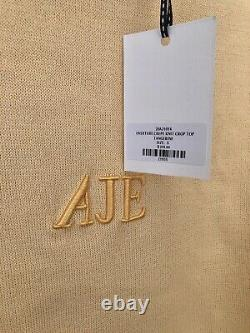 AJE Overture Crepe Knit Crop Top Yellow Tangerine Embroider Logo RRP $255 Size S