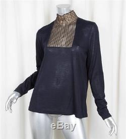 AKRIS Womens Black Cashmere+Silk Knit Mesh Panel Long-Sleeve Shirt Top US 16/XL