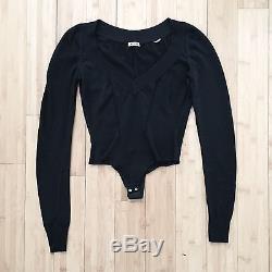 ALAIA Bodysuit Top Long Sleeve Black Sz S