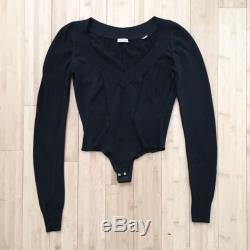 ALAIA Bodysuit Top Long Sleeve Black Sz XS