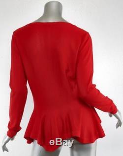 ALEXANDER MCQUEEN Womens Red Wool Flounce Long-Sleeve Peplum Sweater Top L