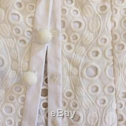 ALEXIS ZAN Top White Shirt Sz XS, S Crisp Collar Buttons Eyelet Long Sleeve NEW
