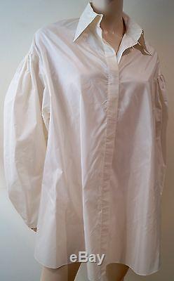 AMANDA WAKELEY Cream Silk Pleated Long Sleeve Oversized Evening Shirt Top UK10