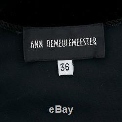 ANN DEMEULEMEESTER black velvet elasticated waist long sleeve blouse top FR36 S