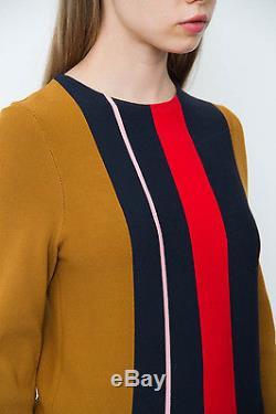 APIECE APART Sol Stripe Tech Brown Red Blue Pink Long Sleeve Shirt Top Sweater S
