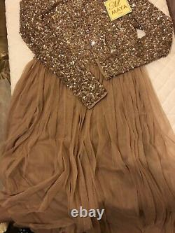ASOS Maya petite long sleeve sequin top maxi tulle dress-Taupe blush UK 12 Eid