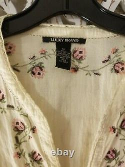 ASO Bella Swan Lucky Brand Embroidered Rose Top Tunic Medium
