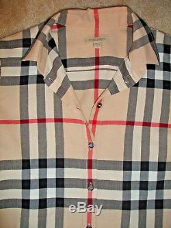 AUTHENTIC Burberry Nova Check Plaid Long Sleeve Button Down Blouse Top Shirt S