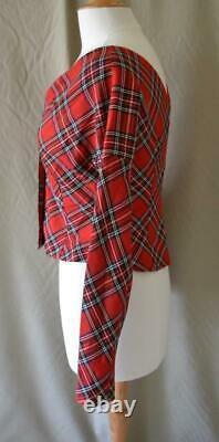 AWAKE Mode Red Tartan Plaid Cropped Long Sleeve Top Size 40