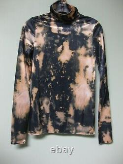 Acne Studios NEW Bleached Abstract Graphic Stretchy Satin Turtleneck Eryn Top S