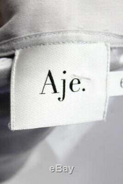 Aje Womens Long Sleeve De Cristo Wrap Top Blouse Gray Size 6