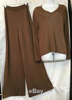 Alaia Vintage Pantsuit Brown wide leg pants knit fabric long sleeve top Size S/M